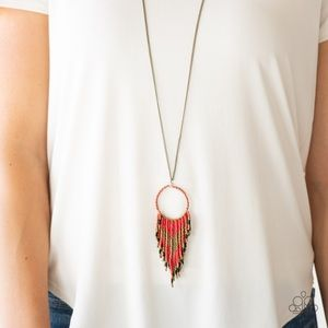 NWT Dream Catcher Necklace Earring Set Red Brass